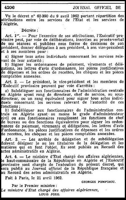 Pompidou 21 avril 1962